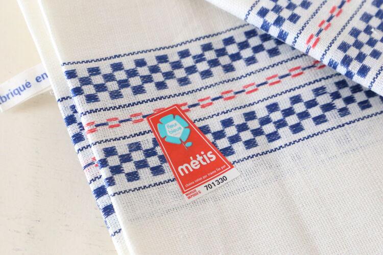Set de 3 torchons en métis blanc et bleu,neufs et vintage