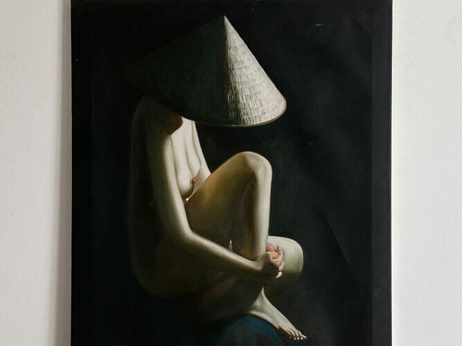 Tableau. huile sur toile, femme nu au chapeau 80x60