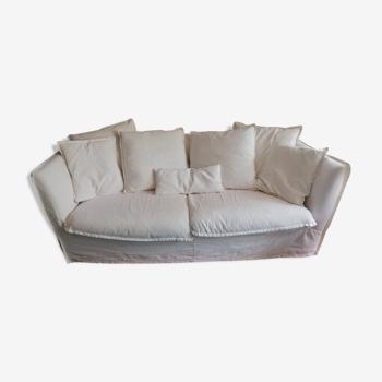 Sofa 3p crumpled linen Ivory removable PAROS