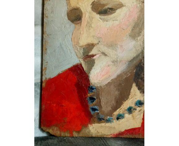 Peinture huile sur bois, portrait femme