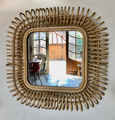 Miroir en rotin circa 1960 54x54cm