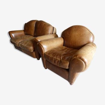 Ensemble canapé cuir 2 places et fauteuil