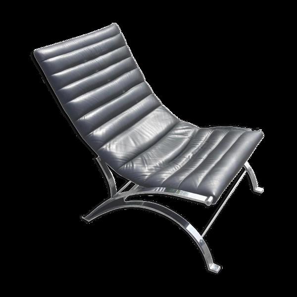 Selency Fauteuil lounge en cuir et chrome, 1970