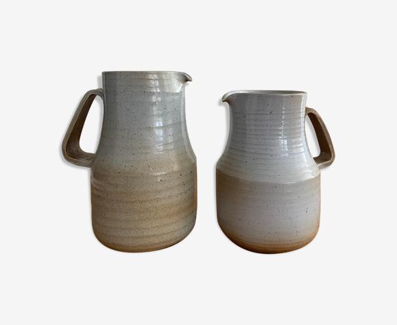 Paire de pichets céramique émaillée vintage