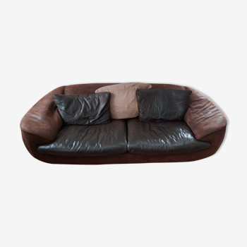 Sofa 3 places brown leather