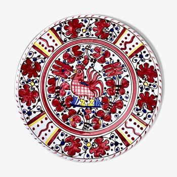 Assiette murale vintage par Deruta Etrusca, coq rouge, Majolique italienne Poterie peinte à la main