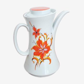 Vintage teapot / coffee maker - Bavarian porcelain - Orange flower décor - 1970