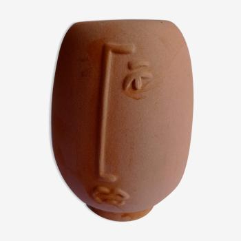 Vase visage en céramique signé