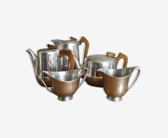 Mid Century Vntg Picquot Ware 1950'S 5 Pieces Set Tea Coffee