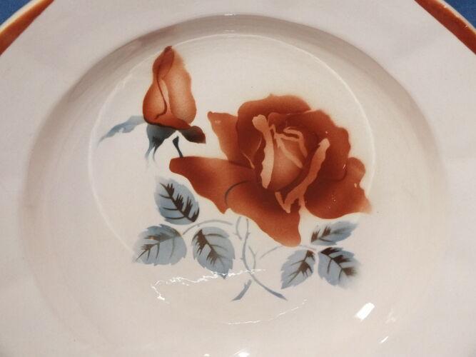6 assiettes creuses Digoin Sarreguemines rose poudré décor 9181