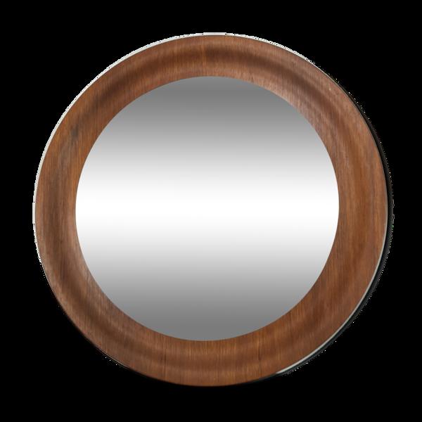 Miroir teck scandinave 45 cm, rond, années 60