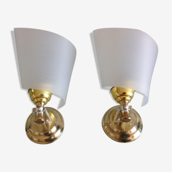 Pair of brass and perspex white /vintage 50-60s wall light