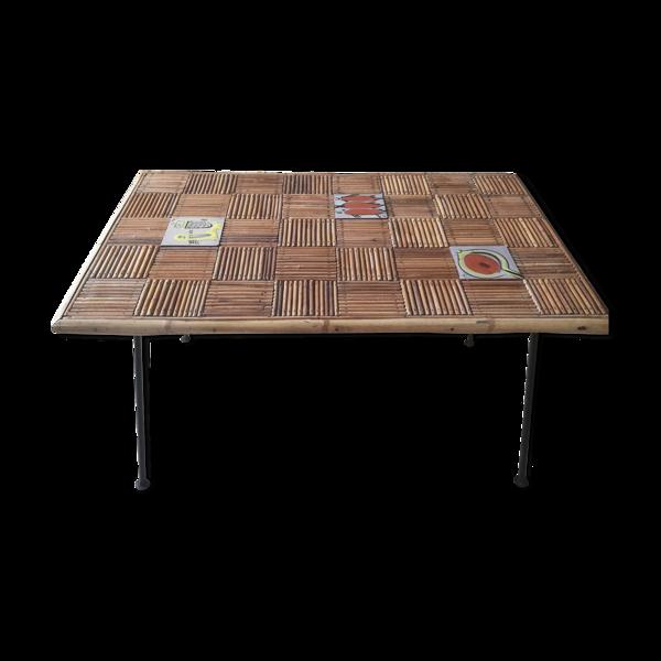 Table basse rotin et céramique années 50