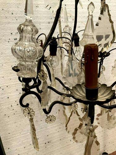 Lustre cage de style Louis XV Pendeloques et couteaux de cristal XIX siècle
