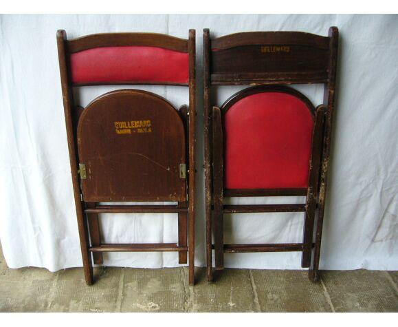 Chaises pliantes en bois et skaï années 60 shanghai
