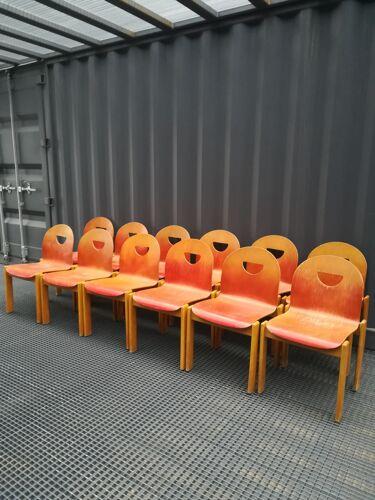 Set de 12 chaises des années 80-90