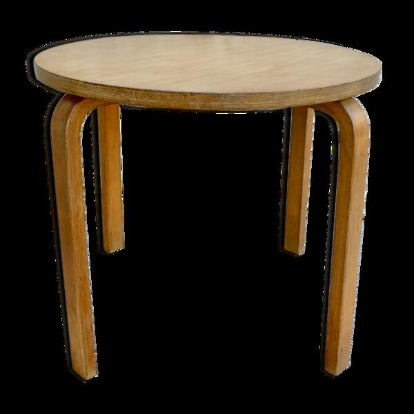 Table basse ronde en bois clair multipli de bouleau années 60