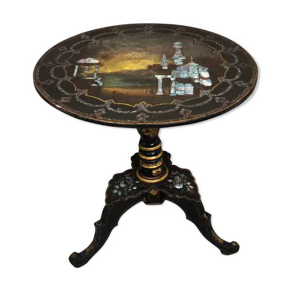 Selency Table d'appoint à décor de nacre incrusté époque Napoléon III