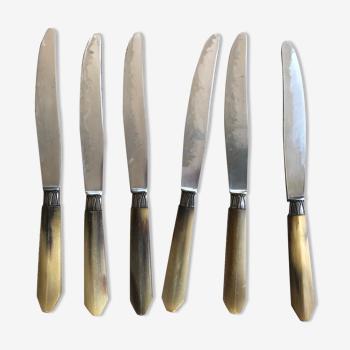 Lot de 6 couteaux avec manche en corne