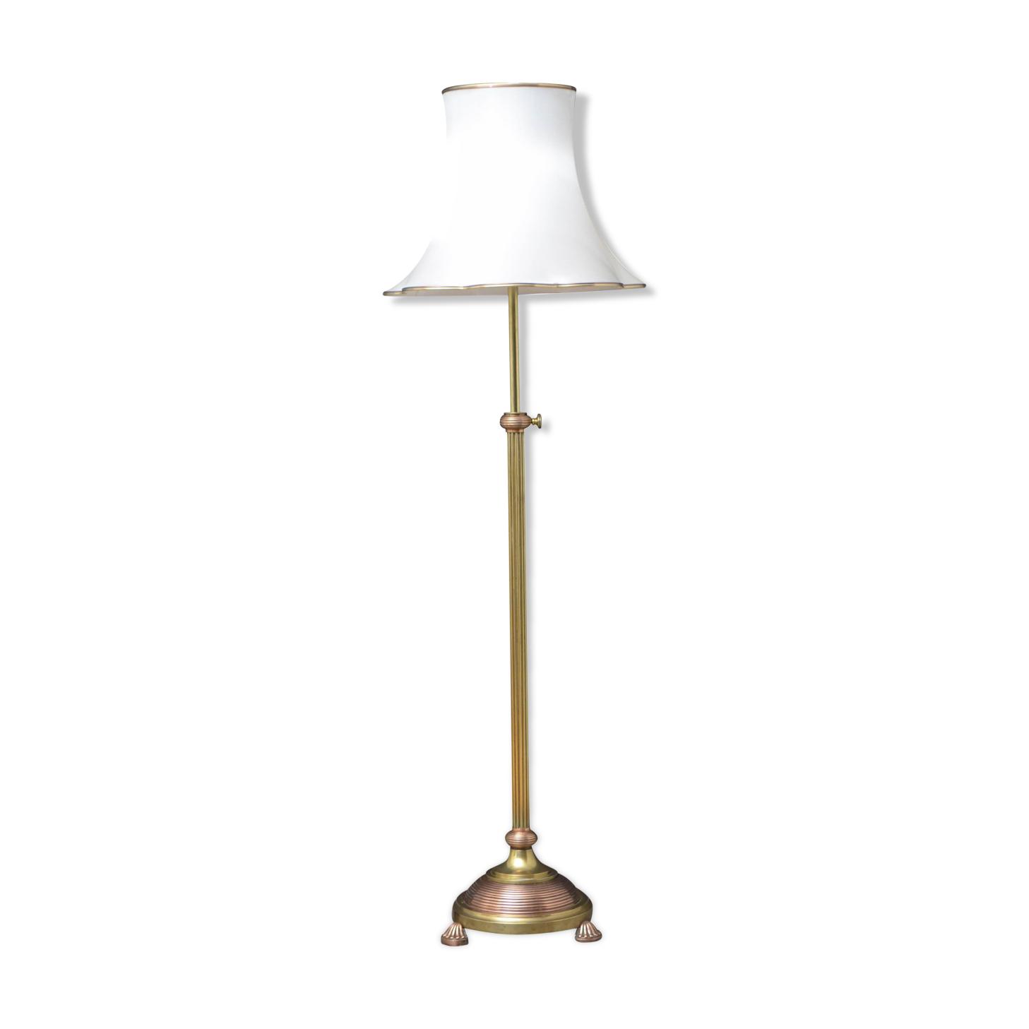 Lampadaire standard en laiton et en cuivre