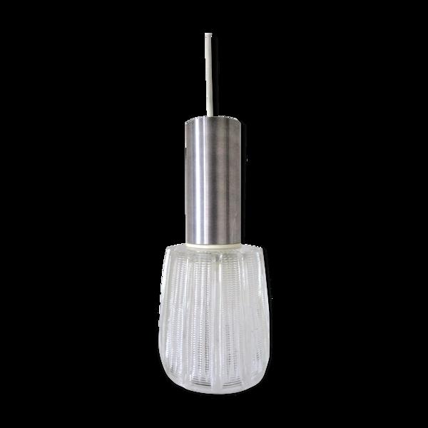 Suspension verre épais métal, design années 70