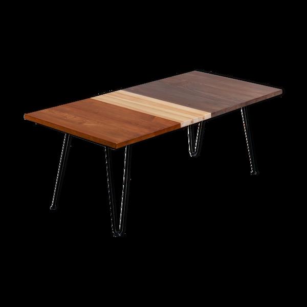 Table basse bois massif design pieds épingles