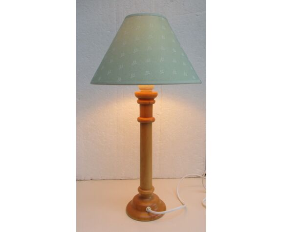 Lampe de table pied bois tourné