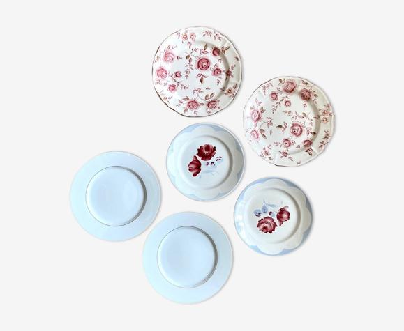 6 assiettes en céramique fleuries