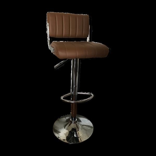 Tabouret chaise de bar en Skaï marron