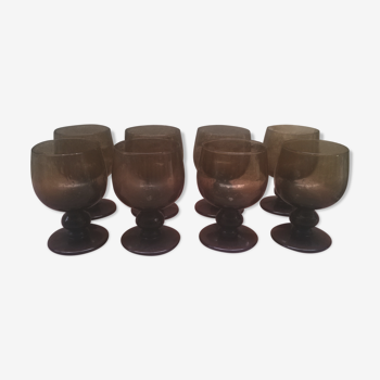 Set de huit verres bullé à pied vintage