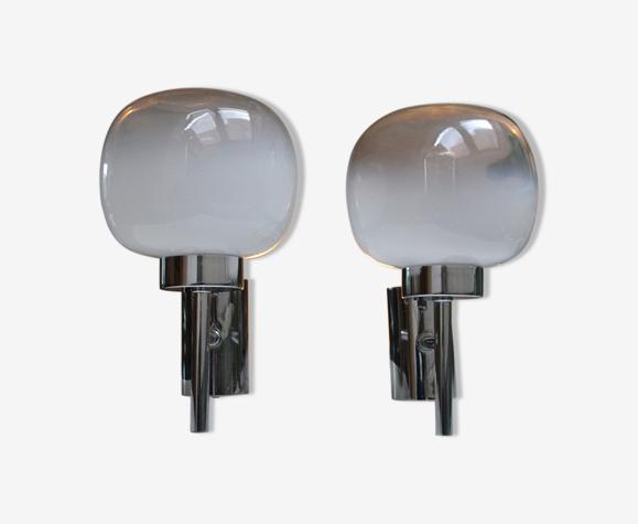 Paire d'appliques Sciolari verre et chrome années 60