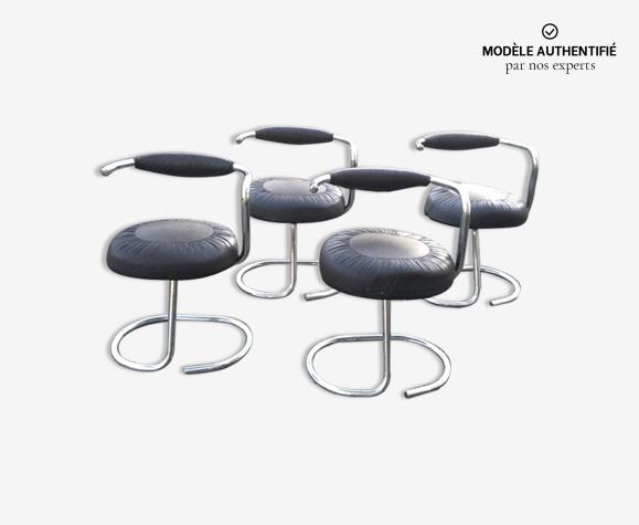 Lot de 4 chaises Cobra par Giotto Stppino