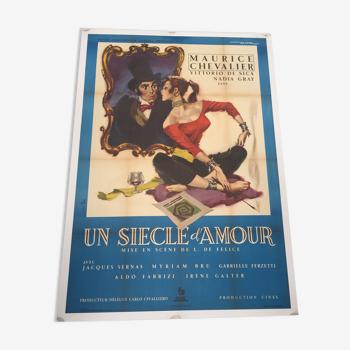 """Affiche de cinema ancienne """"un siècle d'amour"""" 1954 entoilée"""