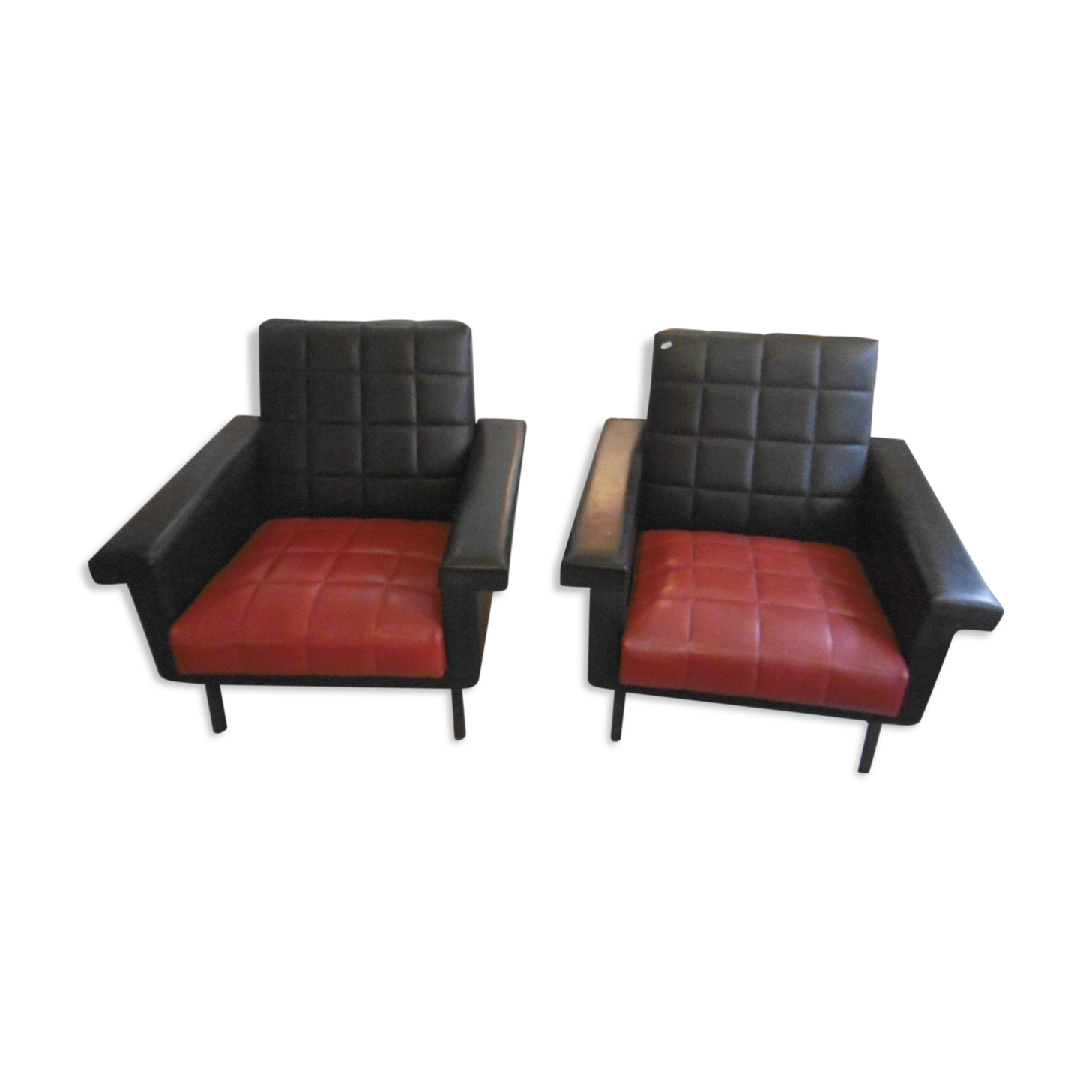 Paire de fauteuils vintage des années 50 - noir et rouge