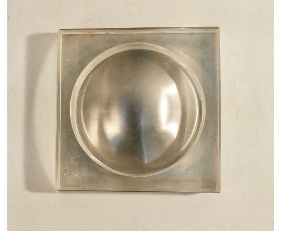 Cendrier vide poche design vintage 1970 métal brossé et plexis