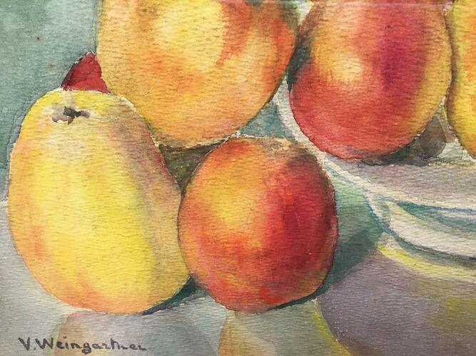 Tableau  nature morte aux pommes