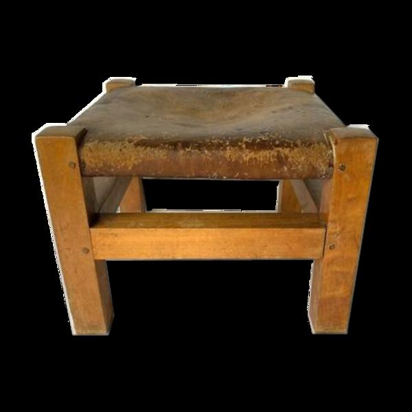 Tabouret dessus en cuir 1950 patine club marron belle fabrication