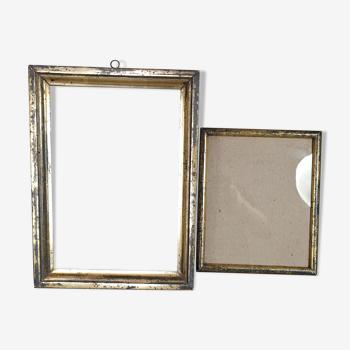 2 cadres anciens bois doré feuillure 29x20,3 & 21,5x17,3 cm + 1 offert sb