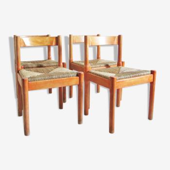 Quatre chaises Carimate Vico Magistretti Cassina