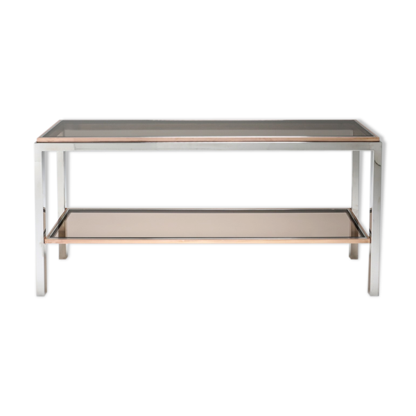 Selency Table console à deux niveaux en chrome et laiton 1970