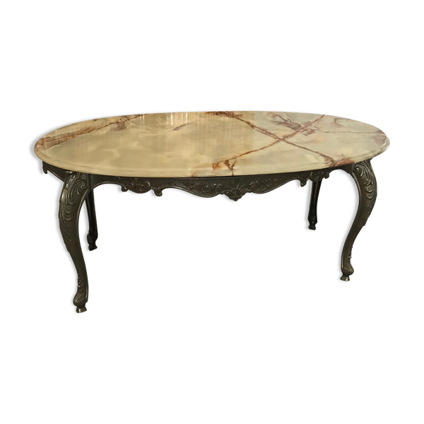 Table basse bronze et onyx