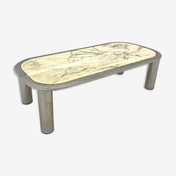 Table Basse marbre et chrome 1970s