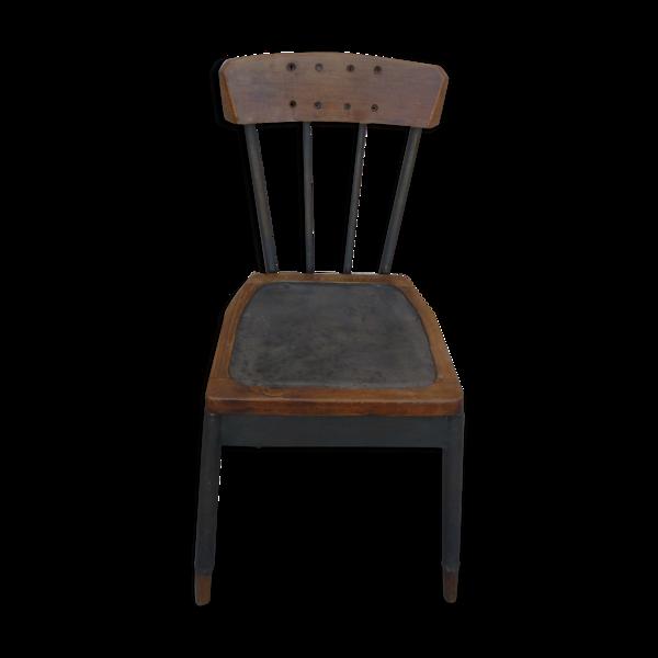 Chaise d'atelier en métal et  bois