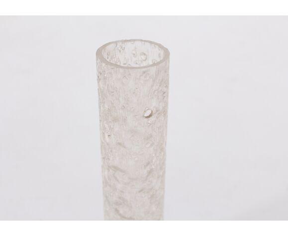 Paire d'appliques verre tubulaires et laiton
