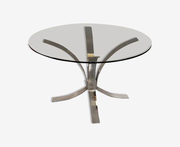 Table ronde chromée verre fumé année 70