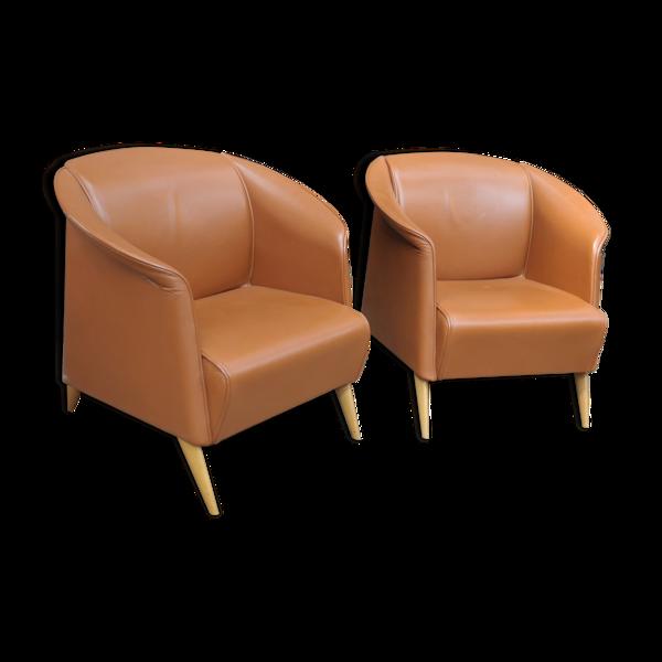 Paire de fauteuils en cuir vintage 1970