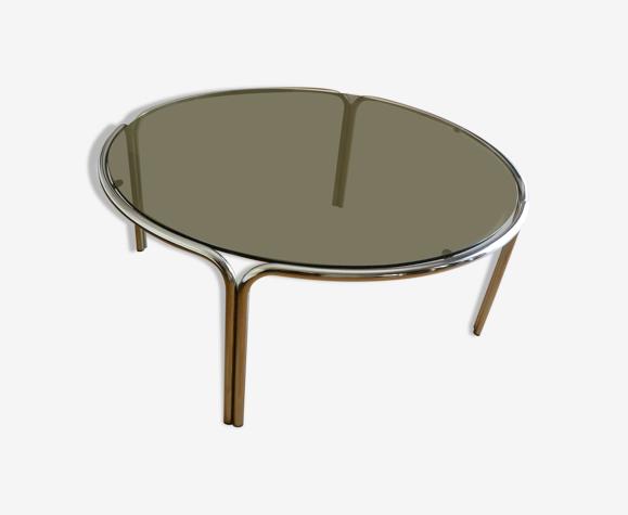 Table basse années 70 verre fumé métal