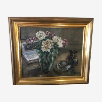 Tableau à l'huile bouquet de fleurs