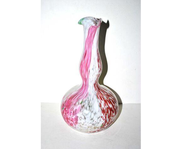 Vase bouteille soliflore vintage en verre jaspé moucheté de Clichy - carafe à eau
