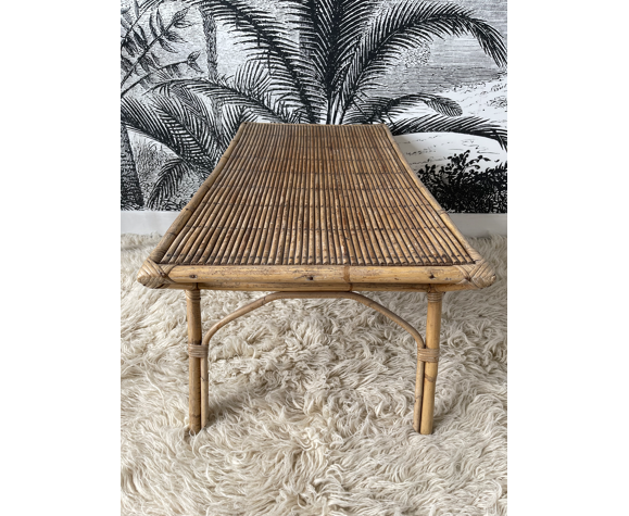 Table basse en rotin 1960